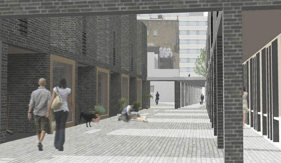 View of a street within a new live work project for Whitechapel John Marshall