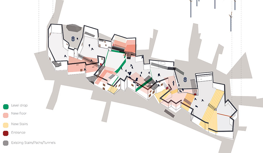 Axonometric of Refugee Exchange, Belmonte, Calabria, Italy
