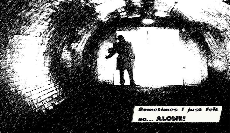 Comic style drawing of man in fedora inside tunnel