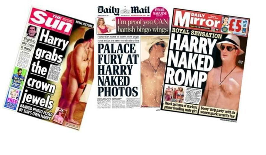Newspaper articles involving Prince Harry