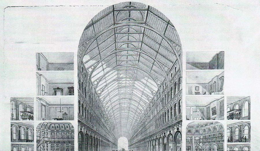 Sectional perspective view of Joseph Paxton's unrealised infrastructural project