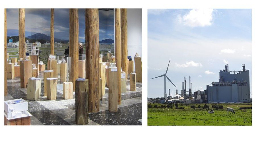 Two images, one of a Japanese Pavilion model, and the other of a wind turbine/industrial buildings