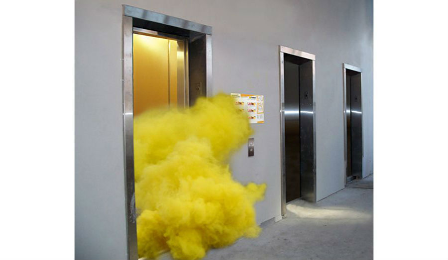 Image Credit: Art Collective JOGGING, 'Smoke bomb in an Elevator', 2010