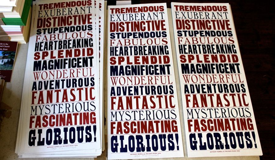 Posters listing positive words such as Exuberant, Magnificent and Distinctive in different typefaces