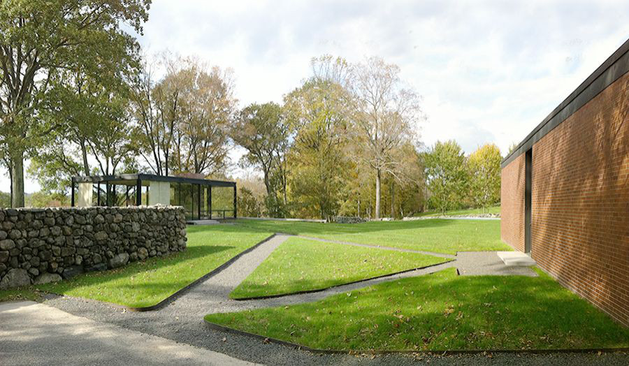Image: Glass House and Brick House, New Canaan, Connecticut, by Philip Johnson (1949)