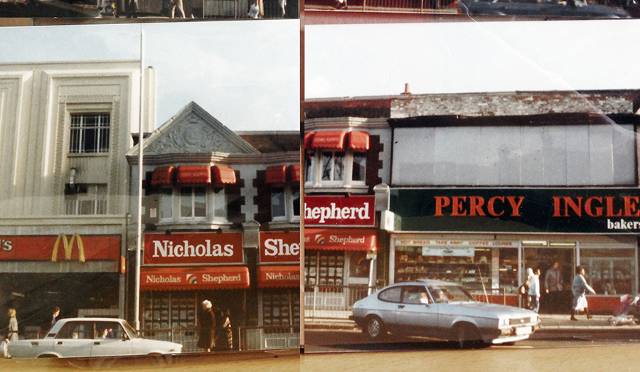 Image by Jane Clossick, photographs of archive images of Tottenham High Road in 1988 from Bruce Cast