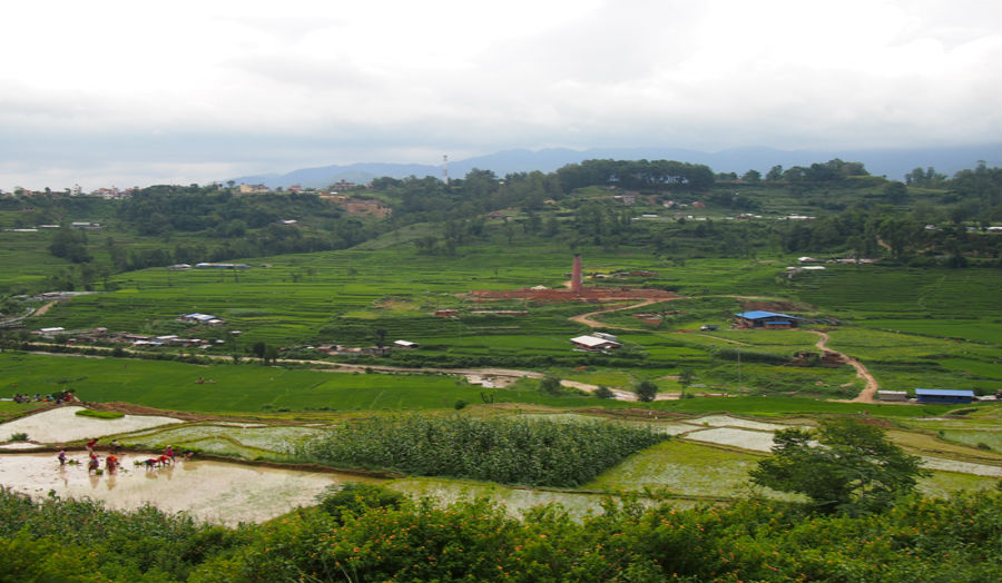 Bungamati brick and horticulture fields on the southern periphery of the city of Patan, Kathmandu Va
