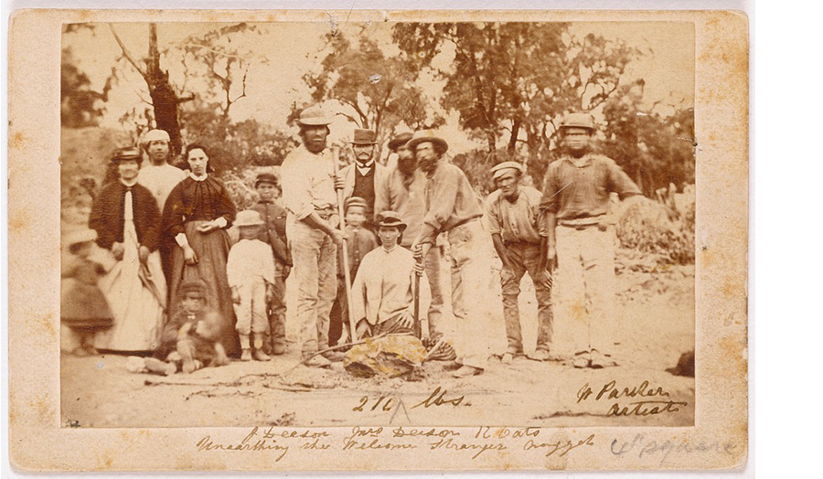 An old photograph of gold prospectors.