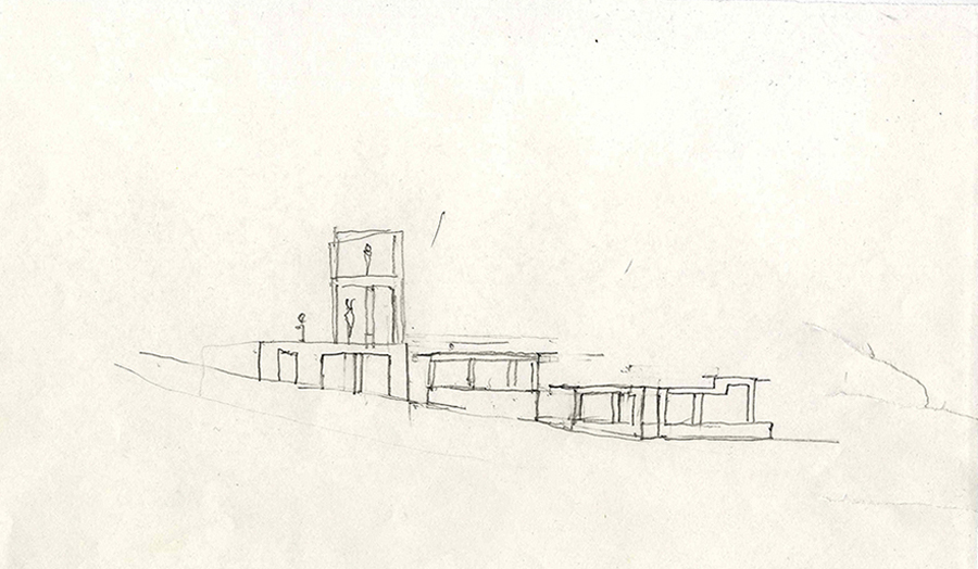 Florian Beigel, design sketch, 104 village project, Seoul, Jan 2014