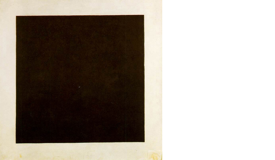 Artwork of a black square on a plain background, entitled Black Square, by Kazimir Malevich, 1915