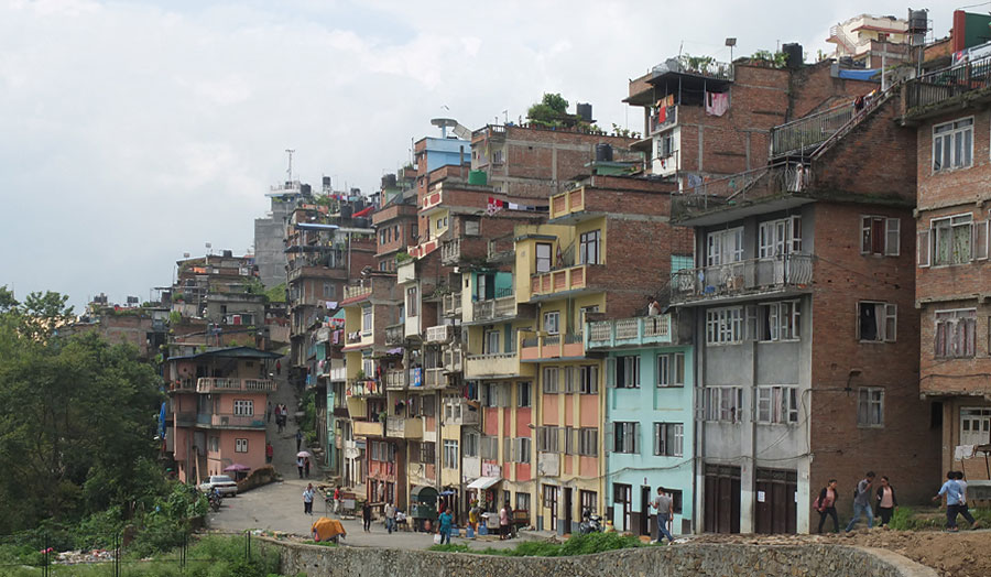 Image caption: Urban development in the historic hilltop village of Kirtipur, Kathmandu, Nepal 