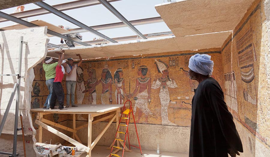 "Photograph titled ""Conservation by reproduction: constructing a 3D facsimile of Tutankhamun's tomb""."
