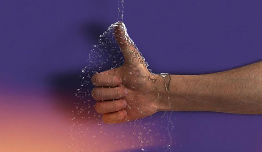 Image of water falling onto a man's thumbs-up hand, entitled Even Pricks (2013), Ed Atkins.