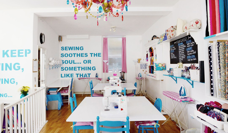 Interior photograph of Sew Over It, an inventive sewing school start-up in London
