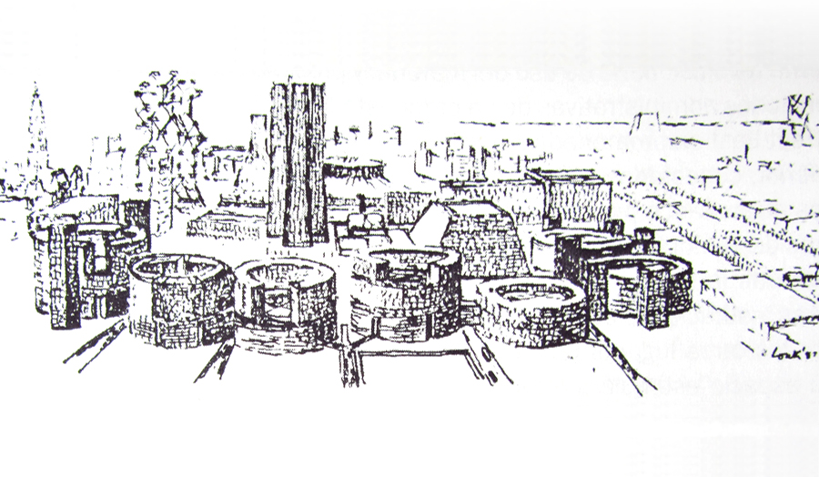 Line drawing by architect Louis Kahn showing original plans for Philadelphia cityscape