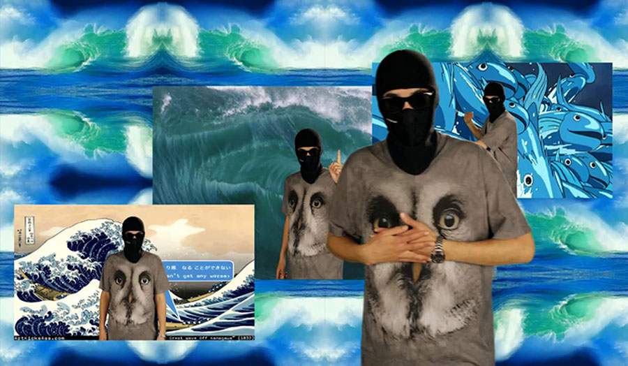 Artwork entitled Liquidity involving waves and a balaclava-clad person