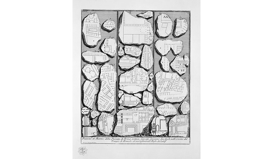 Giovanni Battista Piranesi. Fragments of the Marble Plan of Ancient Rome. (1756)