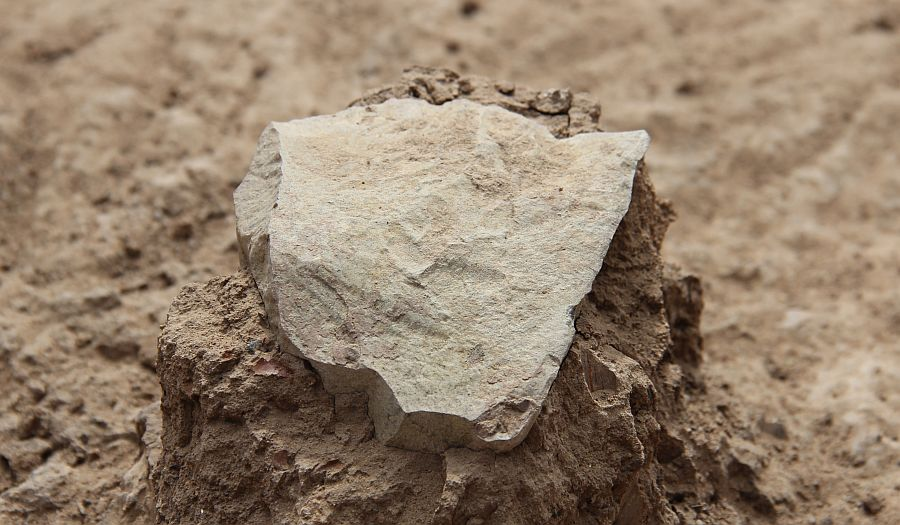 Image of the oldest stone tool in the world, 3.3 million years old, unearthed in 2015 in Kenya.