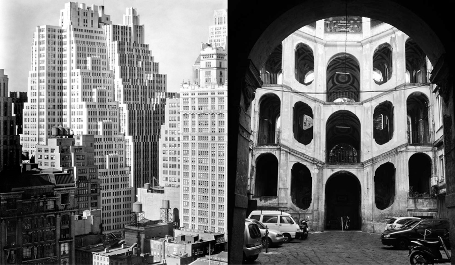 Split screen images of old New York