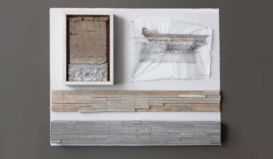 Framed concrete block and sketch