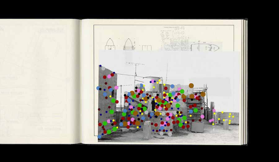 Coloured dots superimposed on building sketches