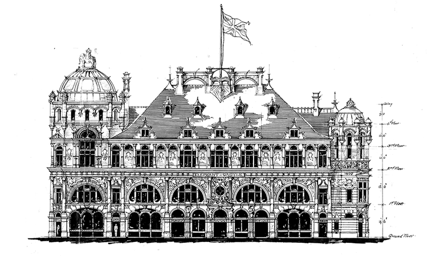 Line drawing of side elevation of the Elephant and Castle Public House by John Farrer, 1897