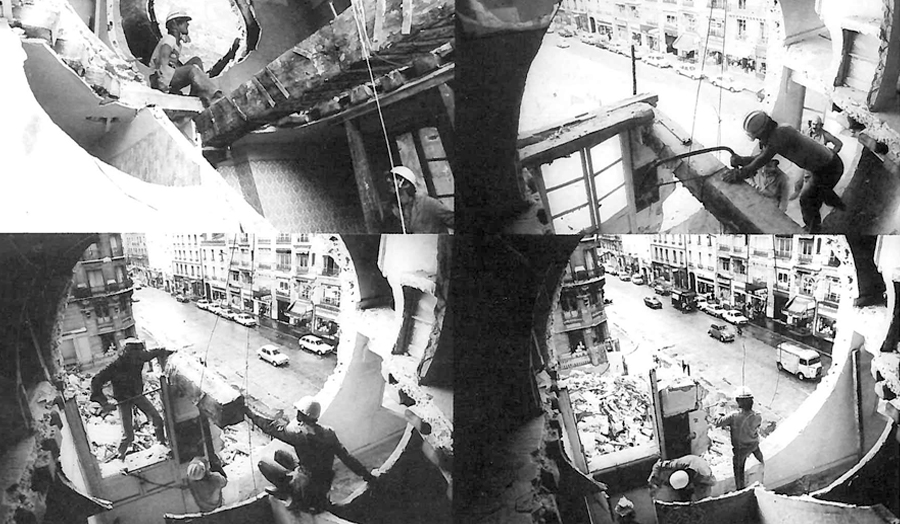 4 images of construction site with circular hole in wall Gordon Matta Clark – Conical Intersect
