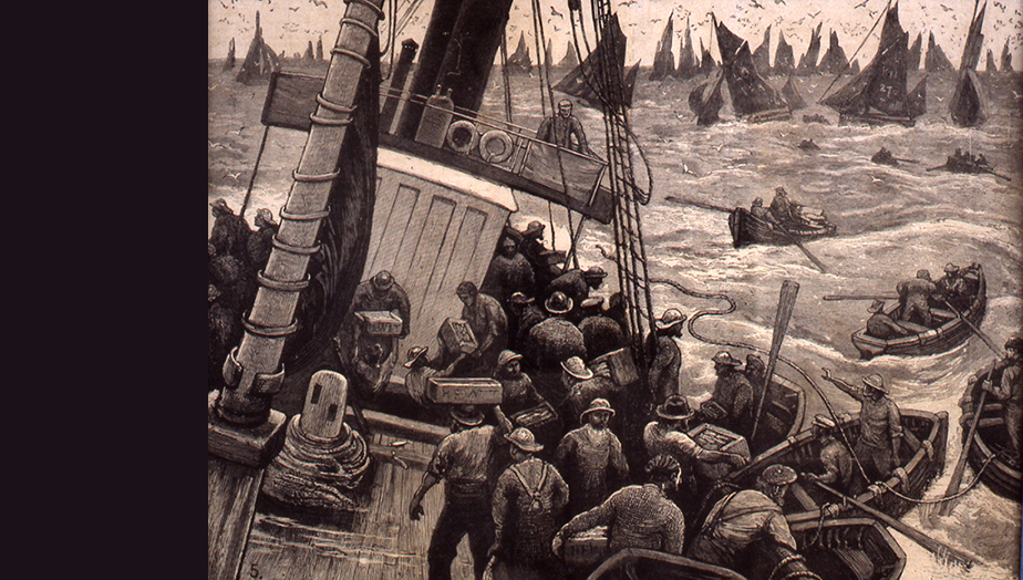 Sailors on a fishing boat in rough sea surrounded by other boats