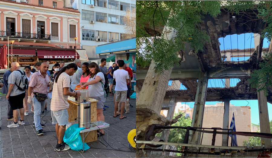 Students, refugees and volunteers sharing conversation over tea in Athens Central Market square (left); Abandoned construction of a typical concrete frame polykatoikia (multi-residence building) (right), Athens, 2019