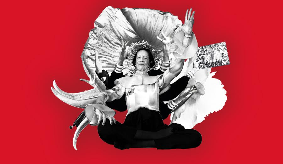 Collage of Diana Vreeland with multiple arms in middle of large flower with crimson background