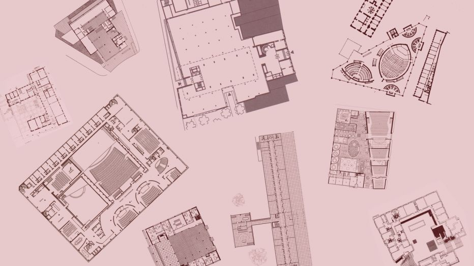 Image: multiple floor plans on pink background
