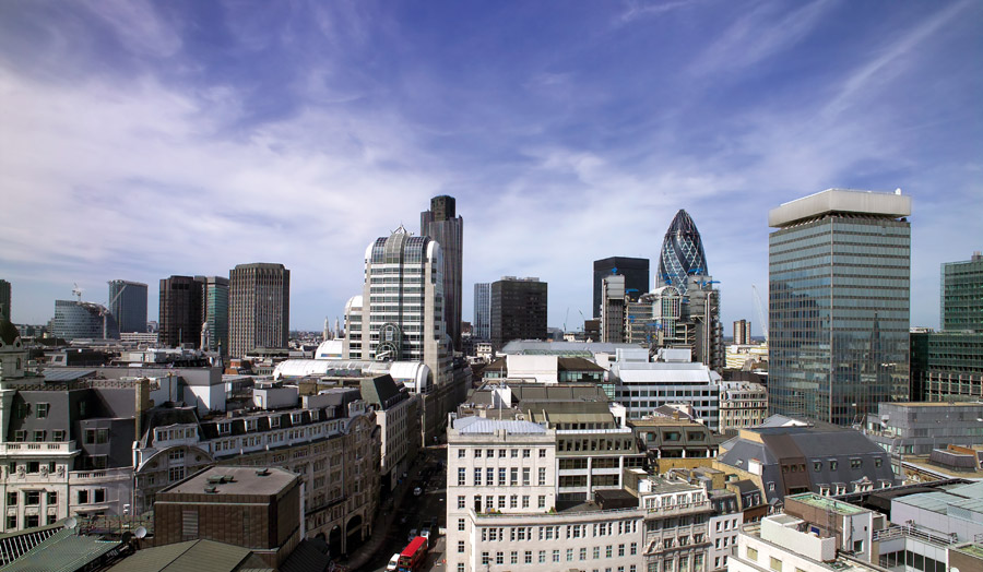 The City looking across to the Gherkin (30 St Mary Axe)