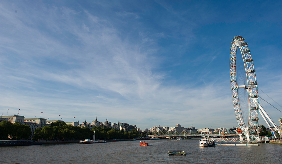 A view of the Thames with the London Eye