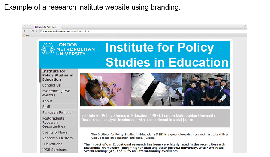 Example of a branded research institute website