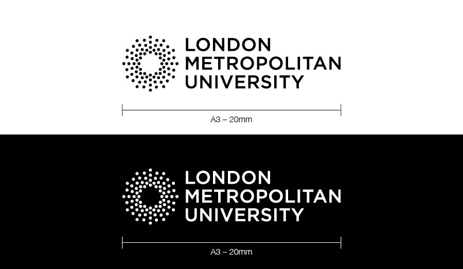 Our corporate logo: London Met logo on a black background