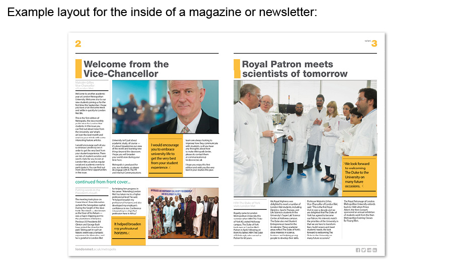 Example layour of the inside of a magazine or newsletter
