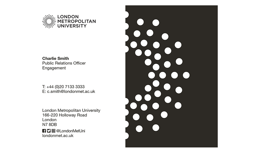 London Met business card example, brand guidelines 2015.