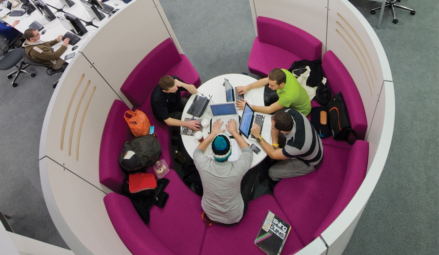 Students working in techno booths