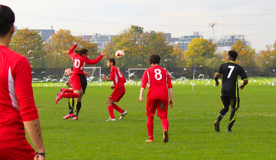 The Students' Union's men's football team playing