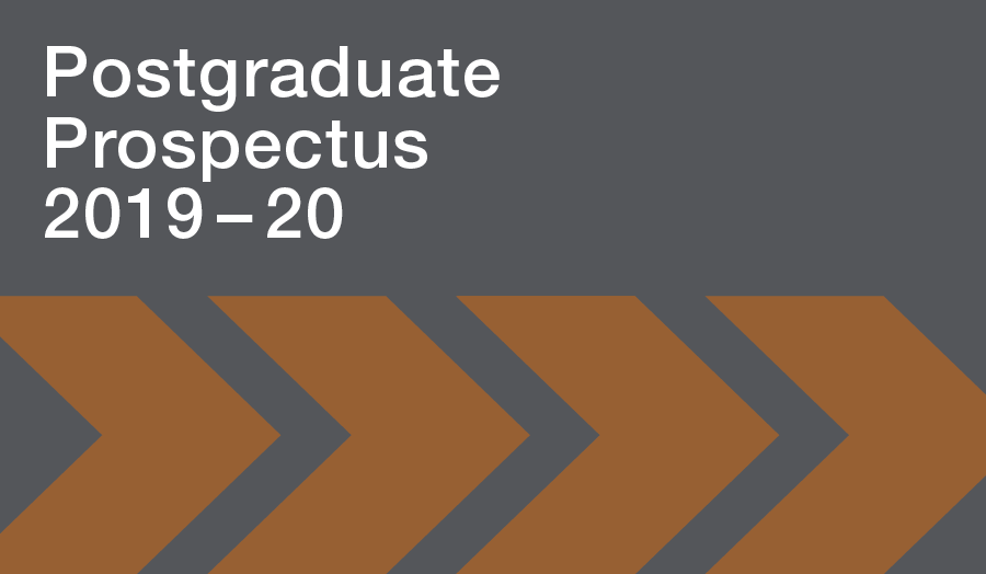 The cover of London Met's Postgraduate Prospectus 2019–20