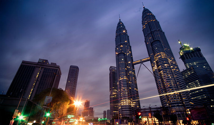 A view of Kuala Lumpa at night