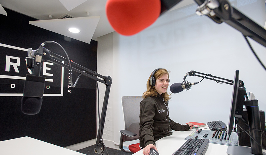 Verve radio station with girl