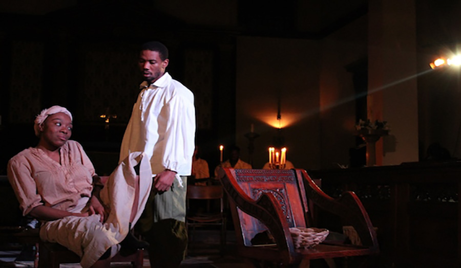 Still shot from the play Muscovado by Matilda Ibini