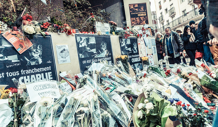 Flowers laid a the site of the 2015 Paris Attacks