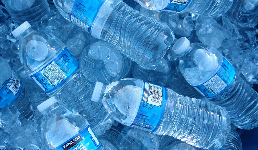 Stock image of plastic water bottles