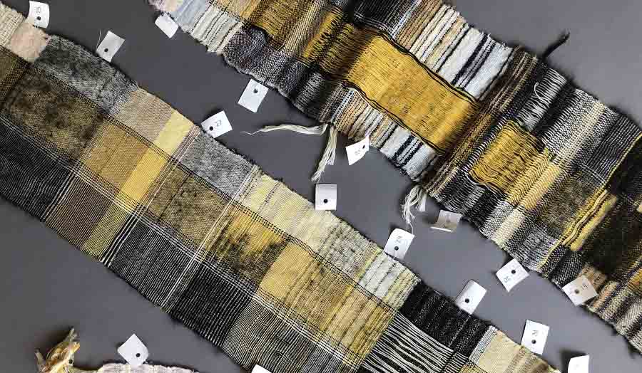 Strips of Yellow and black textiles