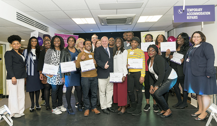 Patrick Mulrenan pictured with the 2019 cohort of Lewisham students