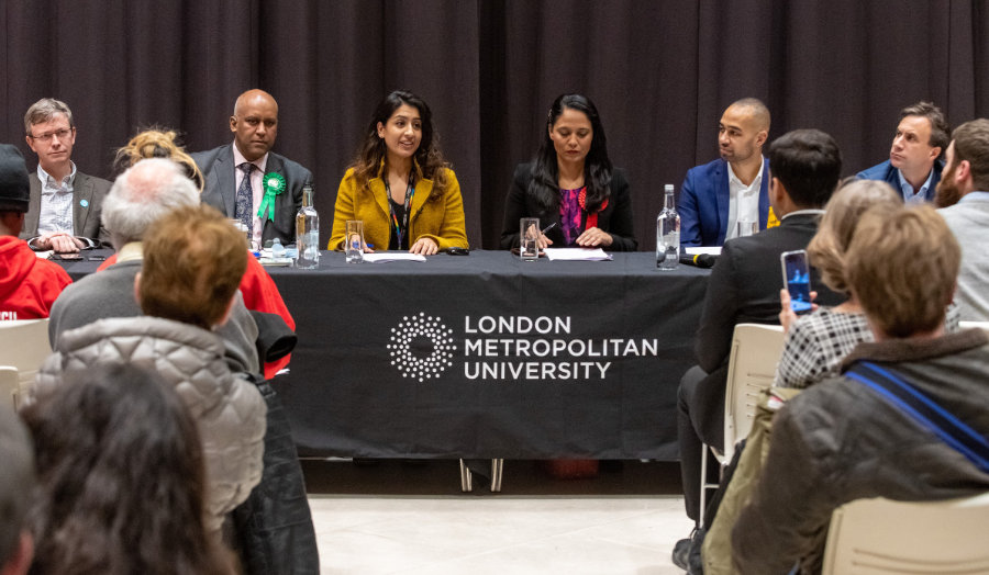 The panel table feature Dr Zainab Khan and the other candidates.