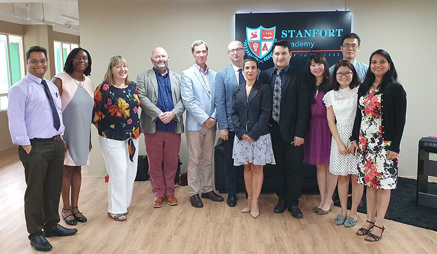 London Met staff with colleagues from the Stanfort Academy, Singapore
