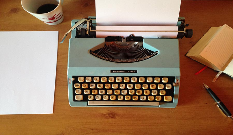 Typewriter with a manuscript